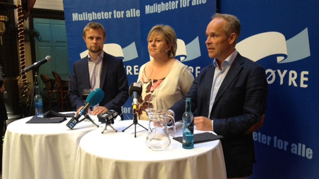Høyre-toppene Bent Høie, Erna Solberg og Jan Tore Sanner tenker offensivt mot valgkampen i 2013