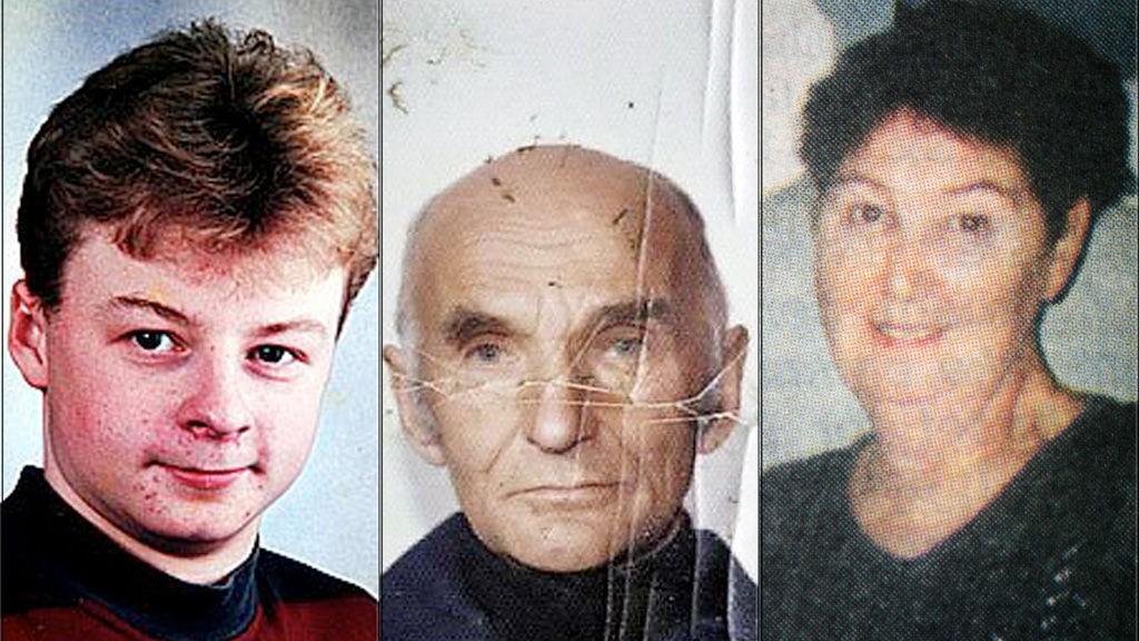 Fra venstre: John Eiolf Bjørn (18) omkom i Lyngen i 1996. Familien tror han ble drept. I midten: Erling Eriksen (85) ble drept i 2002. Til høyre: Marie Louise Bendiktsen (59) ble drept i 1998.