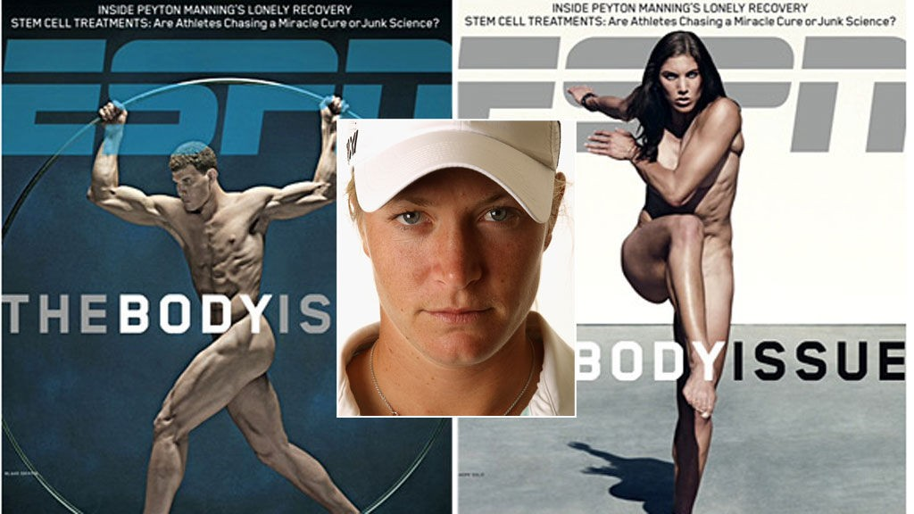 Tutta foran to av de tidligere forsidene på ESPNs The Body Issue: Til venstre basketballspilleren Blake Griffin og til høyre den keeperen Hope Solo.